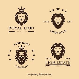 Logotipos de leão com estrelas