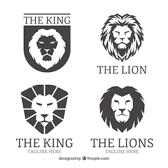 Logotipos de leão, cor preta
