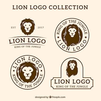 Logotipos de leão, estilo retro