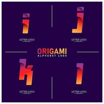 Logotipos de letras ijkl com gradiente curvilíneo de estilo origami