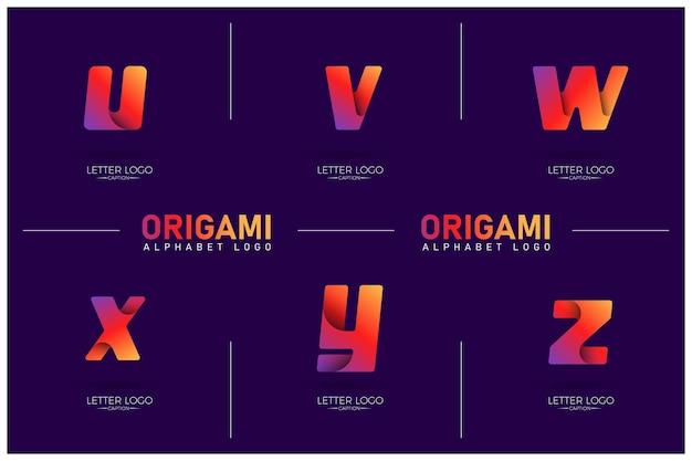 Logotipos de letras uvwxyz de gradiente curvilíneo de estilo origami