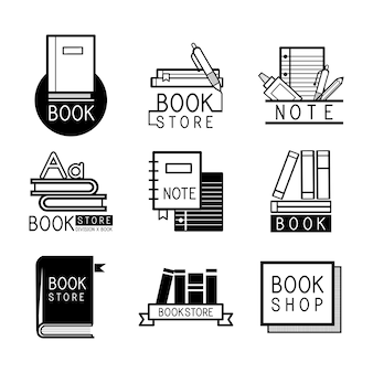 Logotipos de livraria e sinal defina vetor