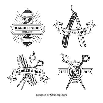 Logotipos de loja de barbeiro vintage