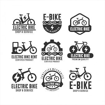 Logotipos de loja e serviço de bicicleta elétrica