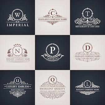 Logotipos de luxo com ornamento caligráfico