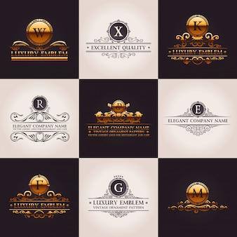 Logotipos de luxo com ornamentos vintage de ouro