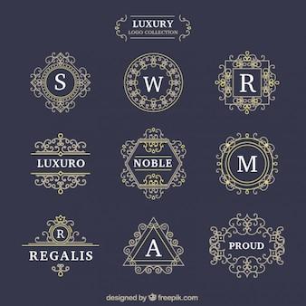 Logotipos de luxo decorativos definido