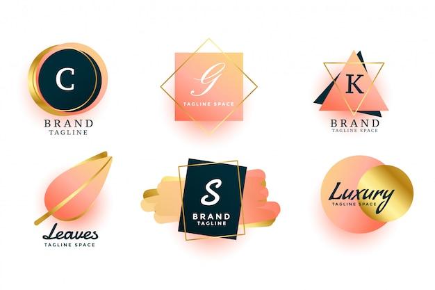 Logotipos de luxo ou design de coleção de monogramas de casamento