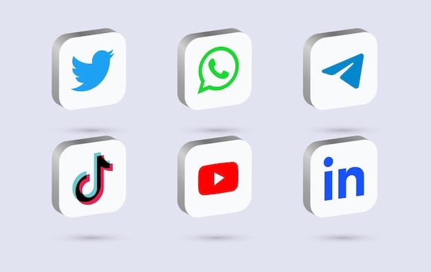 Logotipos de mídia social 3d