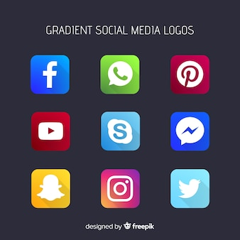 Logotipos de mídia social de gradiente