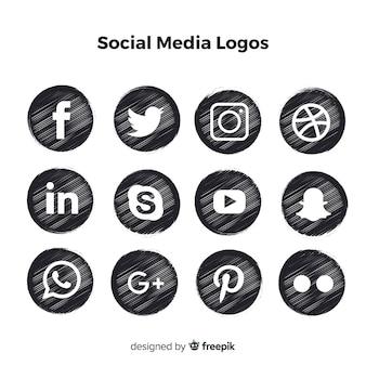 Logotipos de mídia social preto
