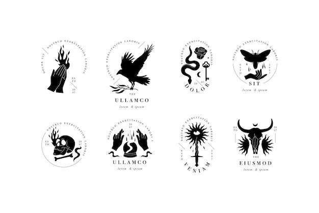 Logotipos de modelo linear de desenho vetorial ou emblemas modelo boêmio e místico para marca pessoal ps ...
