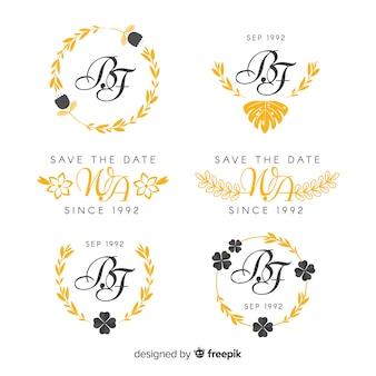 Logotipos de monograma de casamento amarelo
