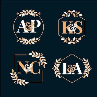Logotipos de monograma de casamento caligráficos