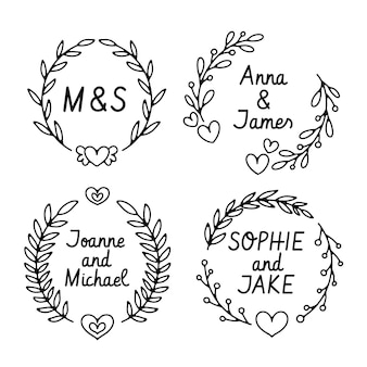 Logotipos de monograma de casamento desenhados à mão
