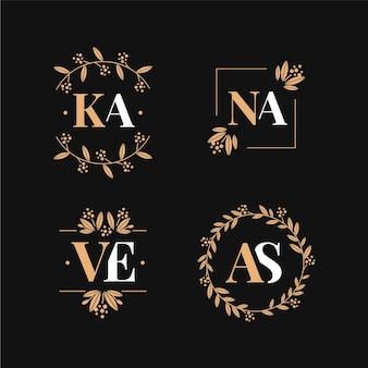 Logotipos de monograma de casamento em estilo caligráfico