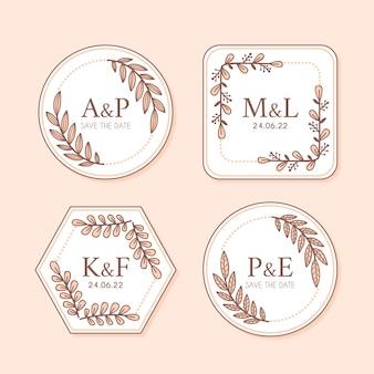 Logotipos de monogramas de casamento floral