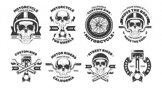 Logotipos de motocicleta personalizada com crânio.