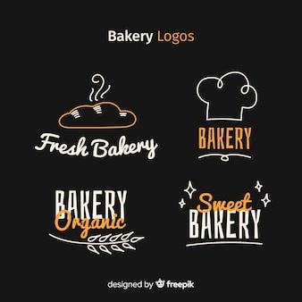 Logotipos de padaria desenhada de mão