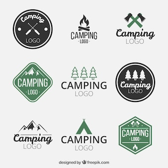 Logotipos de parques de campismo desenhados mão