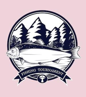 Logotipos de pesca vector à mão de desenho