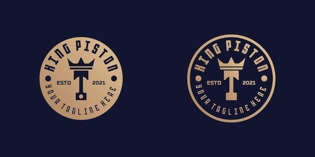 Logotipos de pistão e coroa para oficinas de reparo e mecânicos