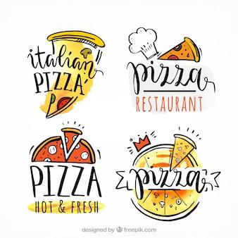 Logotipos de pizza desenhados à mão