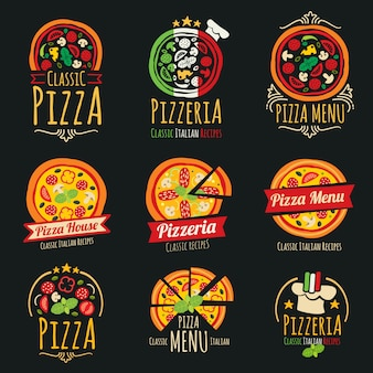 Logotipos de pizza vetor. molde do logotype do restaurante da culinária italiana da pizaria