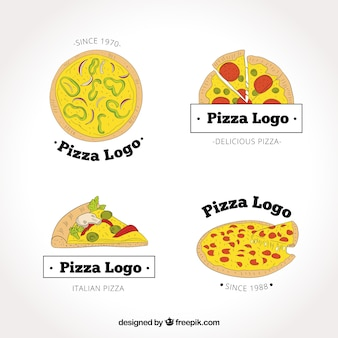 Logotipos de pizzaria desenhados a mão