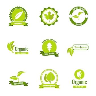 Logotipos de produtos naturais, ecológicos e orgânicos com folhas.