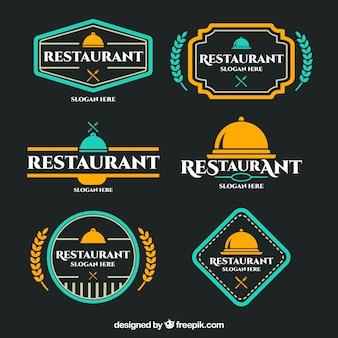 Logotipos de restaurantes coloridos com design de crachá