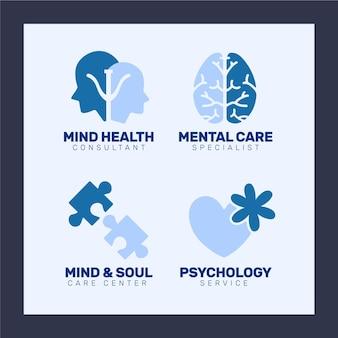 Logotipos de saúde mental de design plano