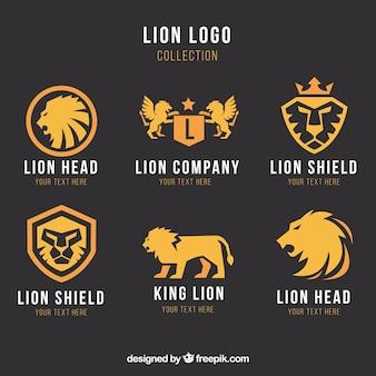 Logotipos de seis leões em um fundo escuro