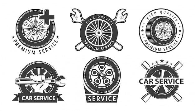 Logotipos de serviço de carro com rodas.