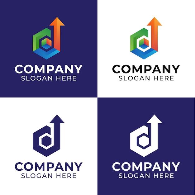 Logotipos de seta em cima da letra d com inspirações de logotipo digital de formas hexagonais de caixa de cubo para embalagem de entrega ou logística