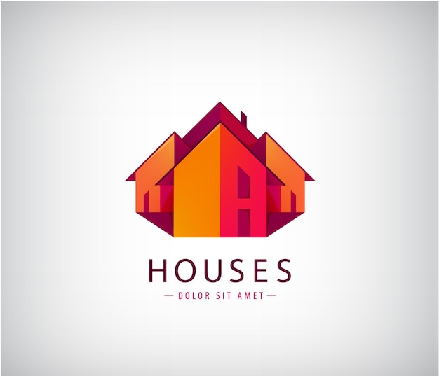 Logotipos de telhados, construção de casas, imóveis.