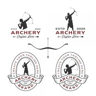 Logotipos de tiro com arco com uma variedade de estilos de design
