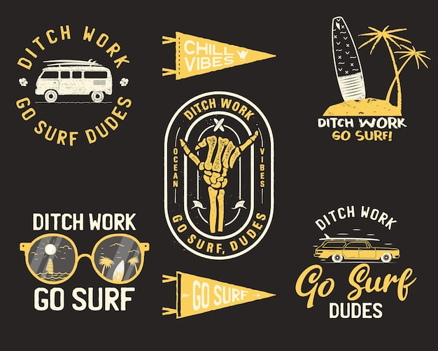 Logotipos de verão vintage, conjunto de emblemas de surf.