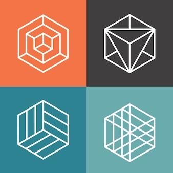 Logotipos de vetor de hexágono em estilo linear de estrutura de tópicos. hexágono do logotipo, hexágono abstrato, ilustração geométrica do hexágono do logotipo