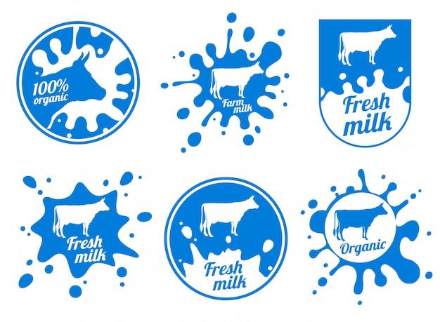 Logotipos de vetor vintage de laticínios