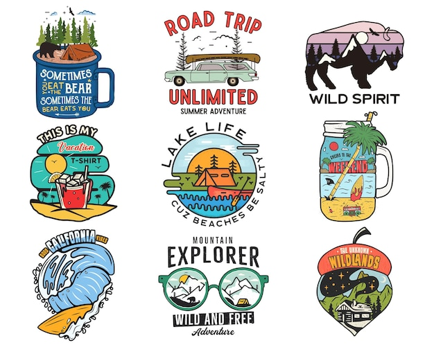 Logotipos de viagens vintage, conjunto de patches de férias. desenhos de rótulos de acampamento de mão desenhada. expedição na montanha, road trip, surf. emblemas de caminhadas ao ar livre. coleta de logotipos. vetor de ações isolado no branco.