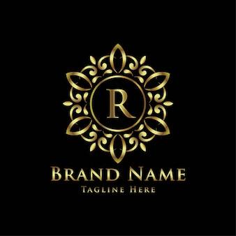 Logotipos decorativos de mandala dourada com inicial