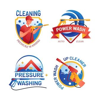 Logotipos detalhados de lavagem a pressão