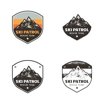 Logotipos do clube de esqui, modelos de insígnias de patrulha com montanhas
