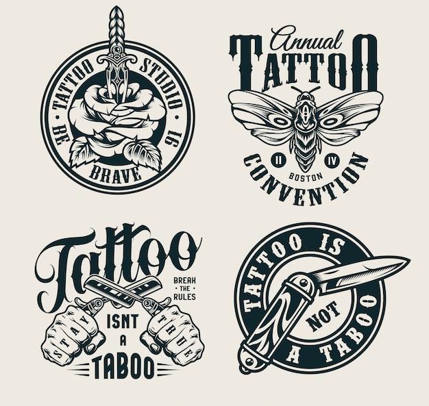 Logotipos do estúdio de tatuagem vintage