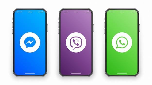 Logotipos do messenger, viber e whatsapp na tela do smartphone