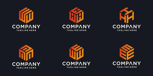 Logotipos do monograma feitos de cubos com a letra inicial do logotipo design abstrac