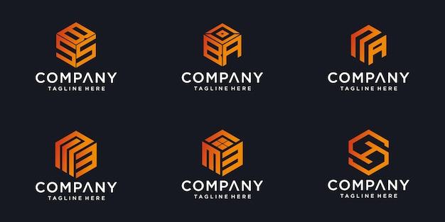Logotipos do monograma feitos de cubos com o resumo do design do logotipo da letra inicial