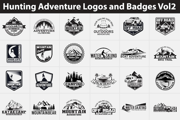 Logotipos e emblemas de aventura de caça