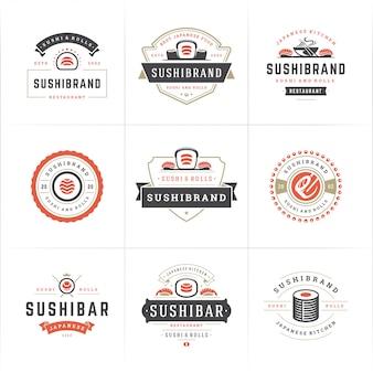 Logotipos e emblemas de restaurantes de sushi definem comida japonesa com silhuetas de rolos de salmão e sushi